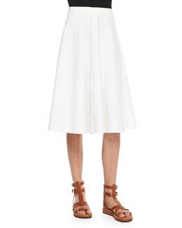 Zaikin A-Line Poplin Skirt, White