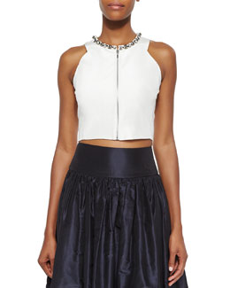 Beaded Zip-Front Crop Top, Sea Salt