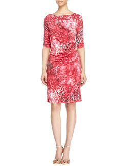 Half-Sleeve Leopard-Print Dress