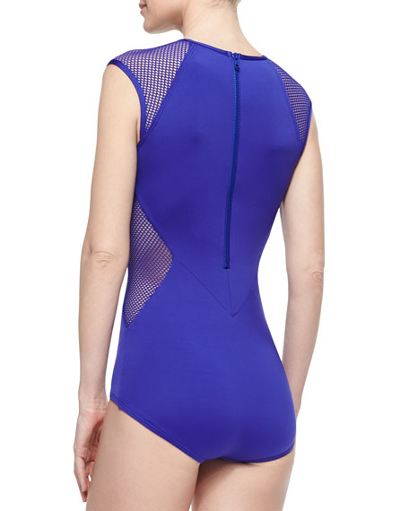City Slick Mesh/Solid Swimsuit