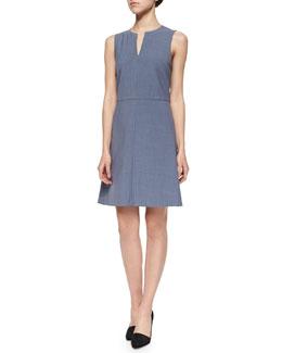 Miyani Split-Neck Suit Dress