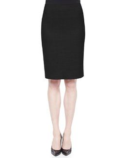 Wool-Crepe Pencil Skirt