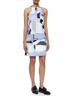 Sleeveless Paper-Print Zip-Front Shift Dress