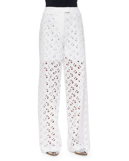 Flying Kenzo Wide-Leg Eyelet Pants