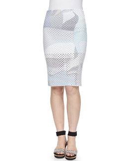 Paper-Print Perforated Pencil Skirt