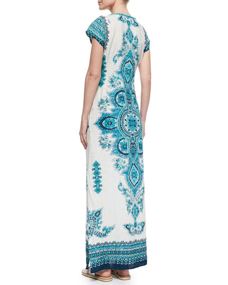 Mevora Printed Embroidered Maxi Dress