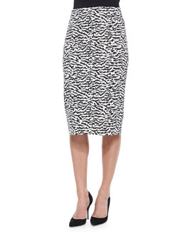 Animal-Print Pique Pencil Skirt