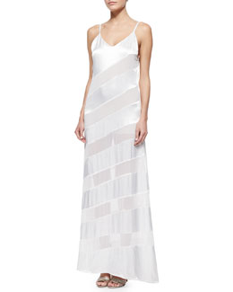 Gene Sheer/Satin Diagonal-Stripe Maxi Dress
