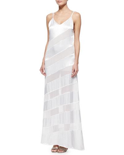 Gene Sheer/Satin Diagonal-Stripe Maxi Dress