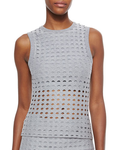 Sleeveless Netted Knit Top