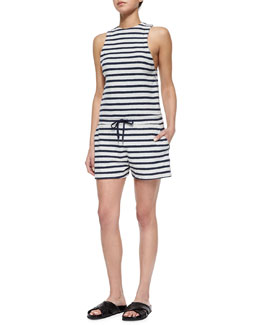 Striped Sleeveless Short Cotton Romper