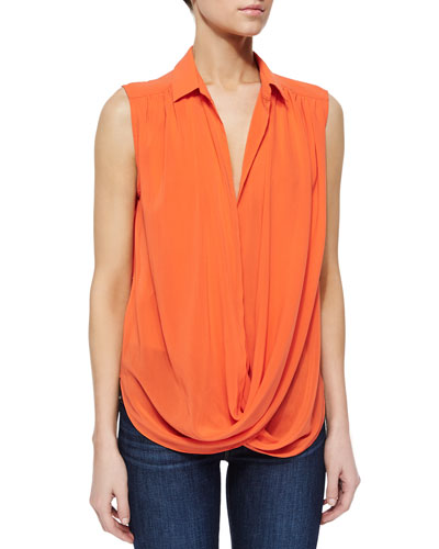 Kiersten Draped Wrap-Front Top, Red-Orange