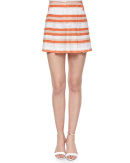 High-Waist Striped Pleated Shorts