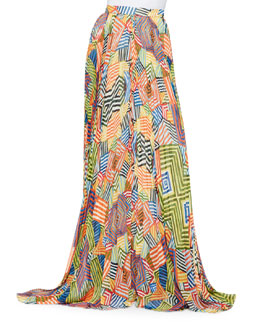 Shannon Printed Pleated Maxi Skirt