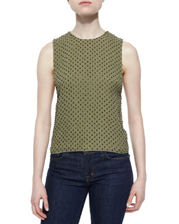 Ana Beaded Crewneck Tank, Olive