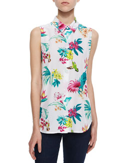 Paradise-Print Sleeveless Silk Top