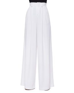 High-Waist Pleated Wide-Leg Pants