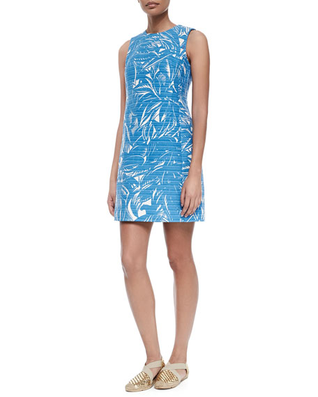 75856b443b Tory Burch Corded Cotton Linen Palm-Print Dress