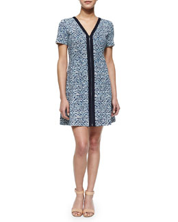 Geometric-Print Zip-Front Ponte Dress