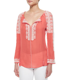 Tie-Neck Long-Sleeve Embroidered Silk Tunic