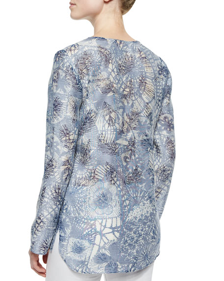 Textured Print Long-Sleeve Tunic