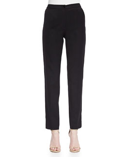Lace Tuxedo-Striped Slim Ankle Pants, Black