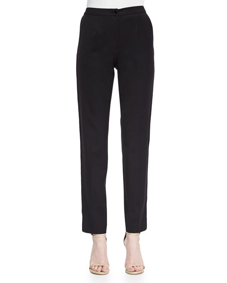 Lace Tuxedo-Striped Slim Ankle Pants, Black