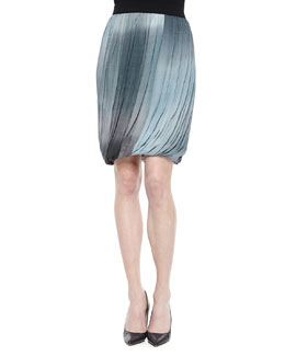 Remmi Pleated Draped Skirt, Blue/Gray