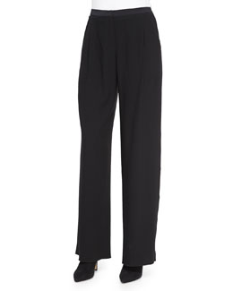 Alena Wide-Leg Pants W/ Satin Trim