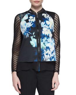 Sandie Floral-Print Mesh Jacket