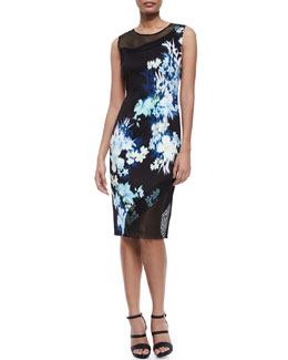 Emory Floral-Print Sheath Dress W/ Mesh