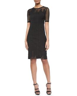 Marianna Short-Sleeve Mesh Dress, Black