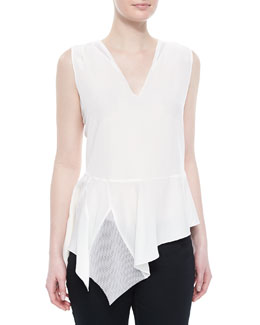 Glenna Sleeveless Peplum Blouse, White
