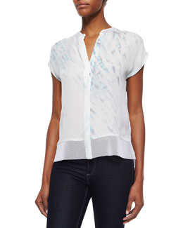 Dylan Short-Sleeve Button-Front Blouse, White
