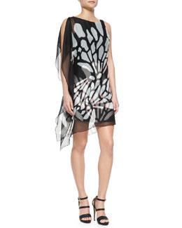 Asymmetric Flutter Print Dress
