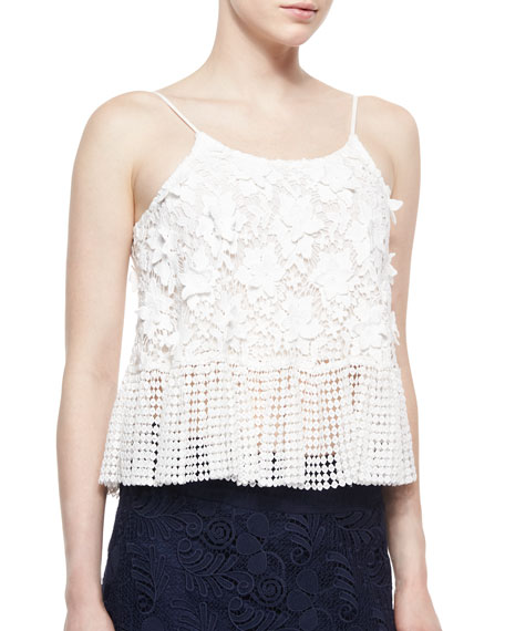 Alexis Reza Dotted/Floral Crochet Top