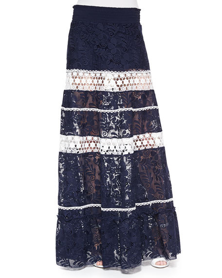 Alexis Konsta Lace-Stripe Maxi Skirt