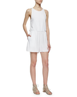Open-Back Sleeveless Romper, White