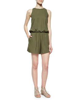 Open-Back Sleeveless Romper, Olive