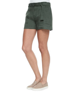 Belted Linen-Blend Shorts