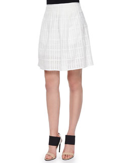 Pleated Texture-Stripe Skirt