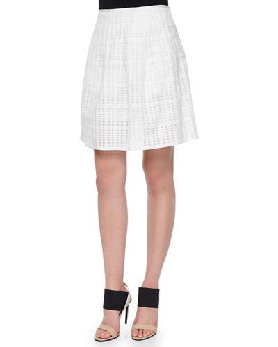 Pleated Texture-Stripe Skirt