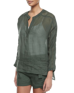 Lace-Inset Sheer Blouse