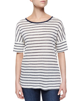Striped Drop-Sleeve Linen Tee