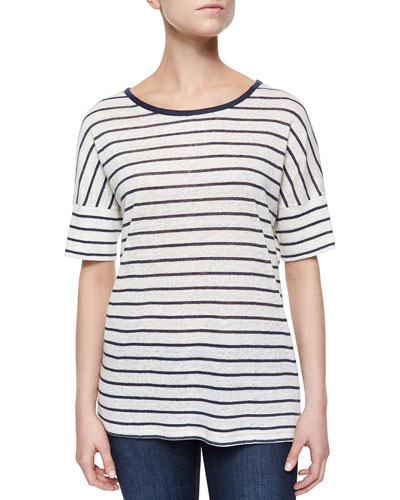 Striped Drop-Sleeve Linen Tee