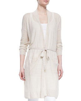 Lightweight Knit Long Belted Cardigan