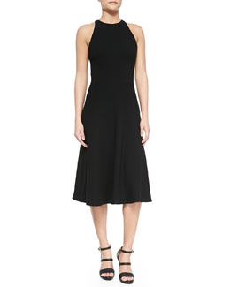 Sleeveless Chiffon Fit-and-Flare Dress, Black
