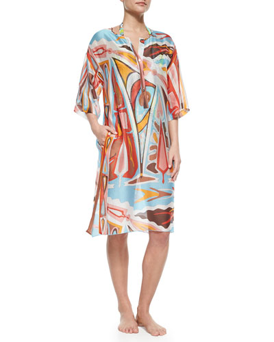 Celeste Sheer Printed Caftan Coverup