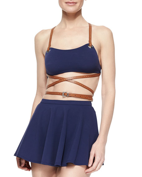 ebcb9521b5 Michael Kors Collection Strappy Belted Skirted Two-Piece Swimsuit