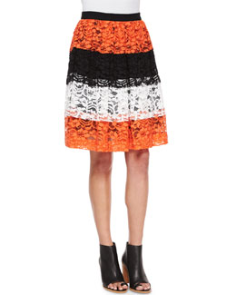 Tricolor Lace Full Skirt